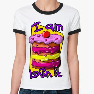 Женская футболка Ringer-T I am lovin it