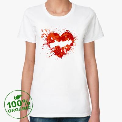 Женская футболка из органик-хлопка  сердце