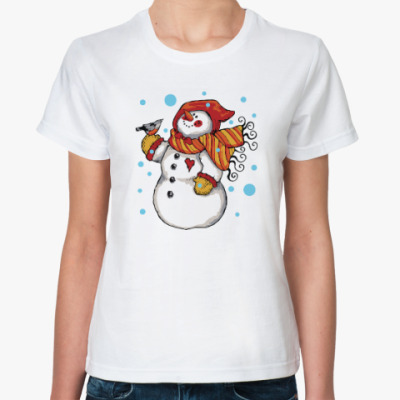 Классическая футболка Снеговик и снегирь