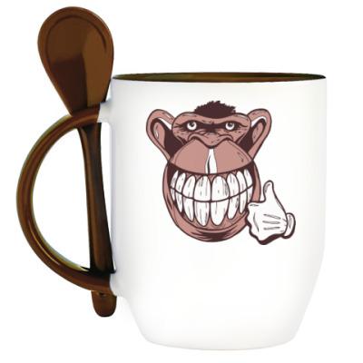 Кружка с ложкой Веселая обезьяна