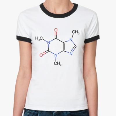 Женская футболка Ringer-T  'Кофеин'