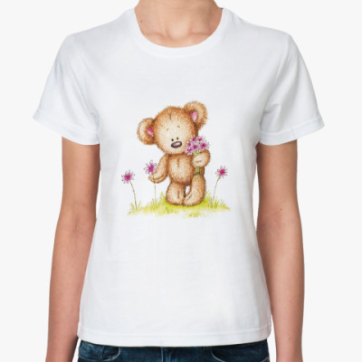 Классическая футболка Мишка на лугу