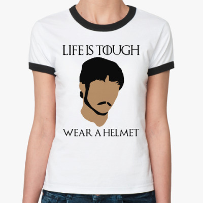 Женская футболка Ringer-T  Wear a helmet