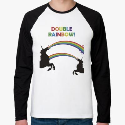 Футболка реглан с длинным рукавом Двойная радуга