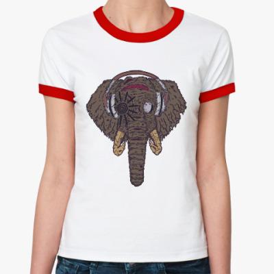 Женская футболка Ringer-T Слон в наушниках