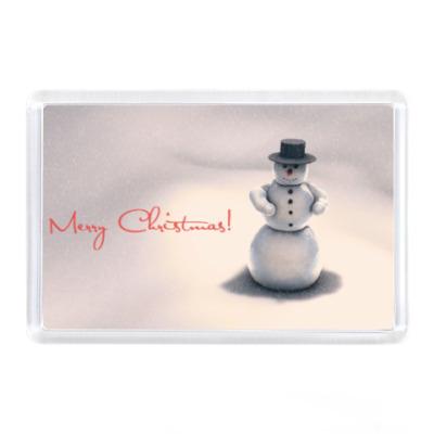 Магнит Снеговик, рождество