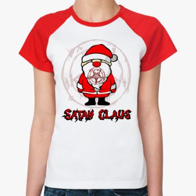 Женская футболка реглан Satan Claus