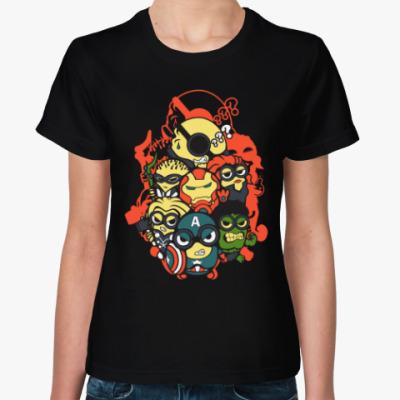 Женская футболка Лига Супергероев (Миньоны)