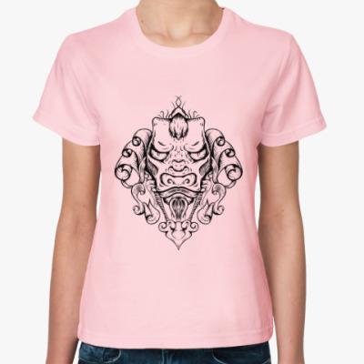 Женская футболка Восточный тату дракон