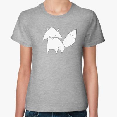 Женская футболка Лисенок контур