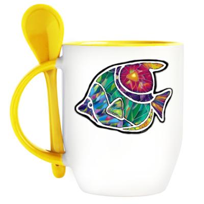 Кружка с ложкой Мозаичная рыба
