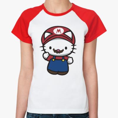 Женская футболка реглан Китти Марио