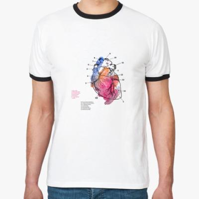 Футболка Ringer-T  'Heart anatomy'