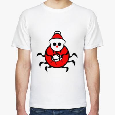 Футболка Санта паук с подарком