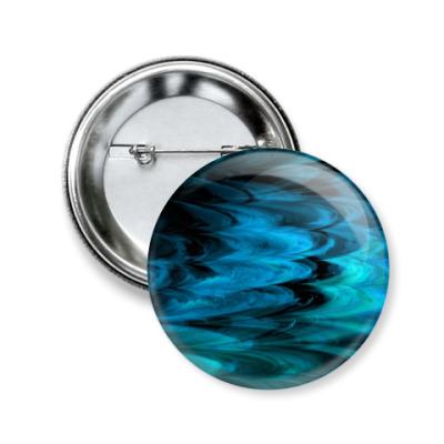 Значок 50мм Синие волны