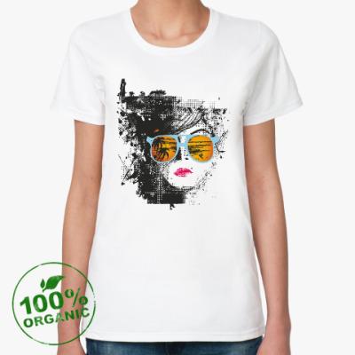 Женская футболка из органик-хлопка Лицо в очках