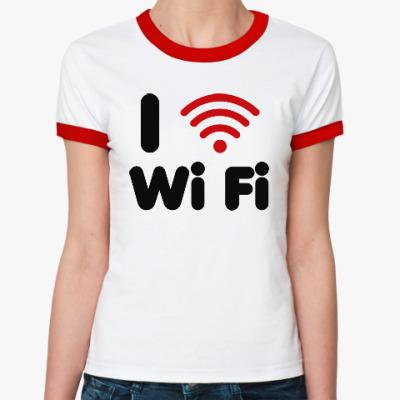 Женская футболка Ringer-T Люблю вай-фай