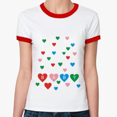 Женская футболка Ringer-T  для беременной Baby