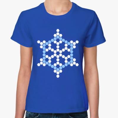 Женская футболка Снежинка мозаика