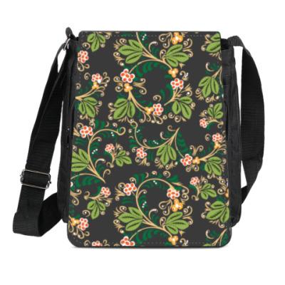 Сумка-планшет Узор. Листья и ягоды.