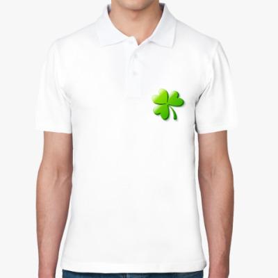 Рубашка поло Зеленый объемный клевер