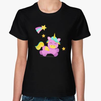 Женская футболка Единорог и звездочки