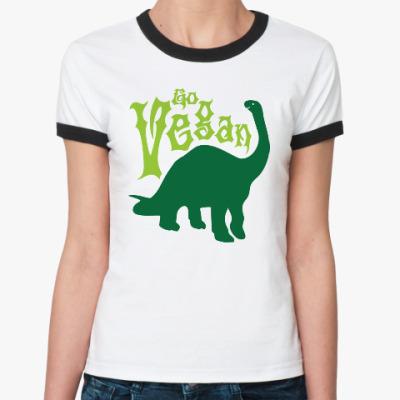 Женская футболка Ringer-T Go Vegan