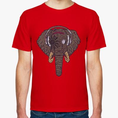 Футболка Слон в наушниках