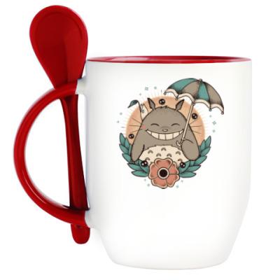 Кружка с ложкой Smile Totoro
