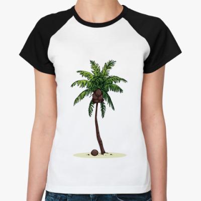 Женская футболка реглан Кокосовая пальма