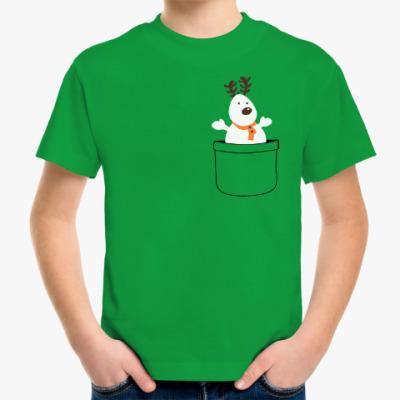 Детская футболка Олень - снеговик