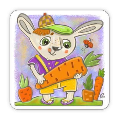 Костер (подставка под кружку) Зайчик и морковка