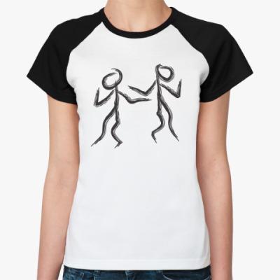 Женская футболка реглан танцующие человечки