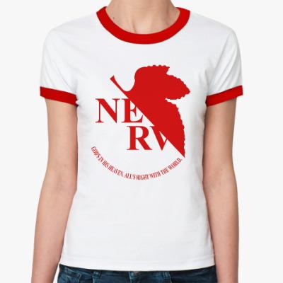 Женская футболка Ringer-T Neon Genesis Evangelion NERV