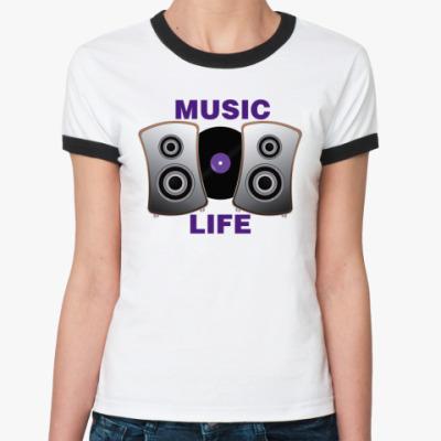 Женская футболка Ringer-T  Music Life