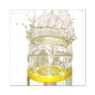 Наклейка (стикер) лимон в стакане