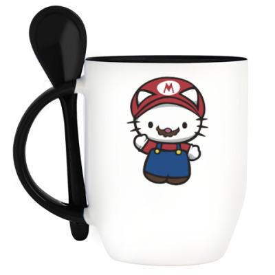 Кружка с ложкой Китти Марио