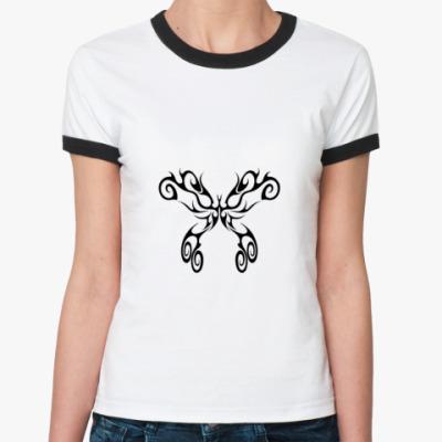 Женская футболка Ringer-T  бабочка