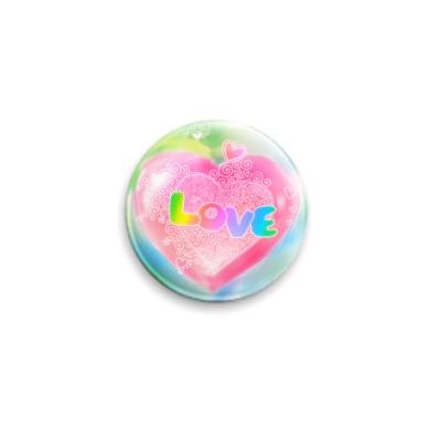 Значок 25мм акварельная 'Love'