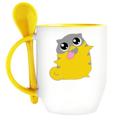 Кружка с ложкой  boggart cat