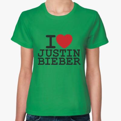 Женская футболка  Ай лав Джастин Бибер
