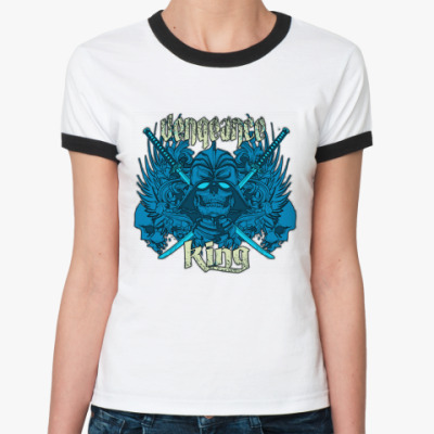Женская футболка Ringer-T king  Ж (бел/чёрн)