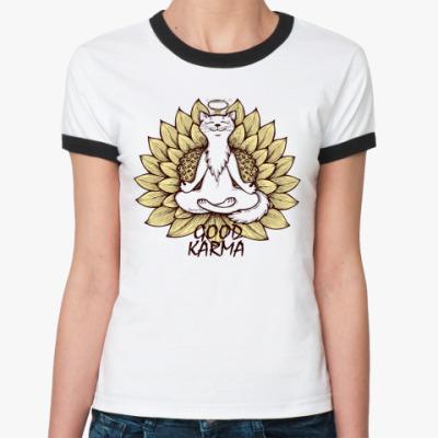 Женская футболка Ringer-T  'Хорошая карма'