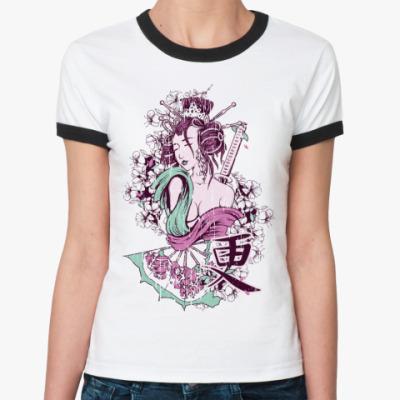 Женская футболка Ringer-T  Цветение сакуры