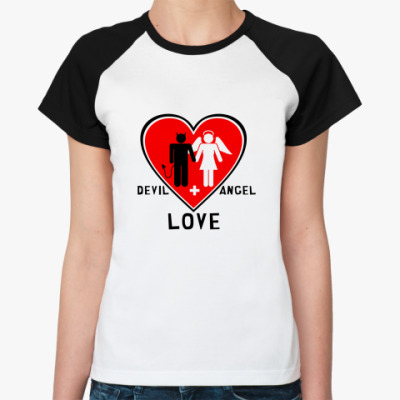 Женская футболка реглан Devil+Angel