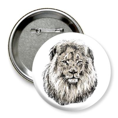 Значок 75мм Лев