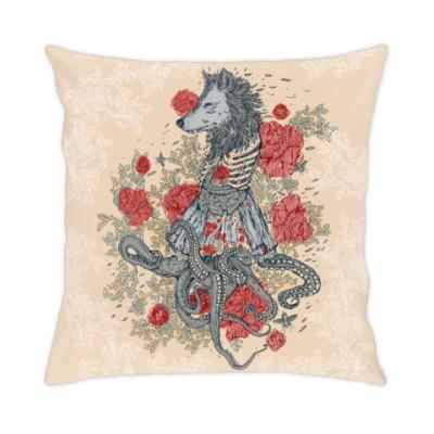Подушка Волк-девушка-осьминог