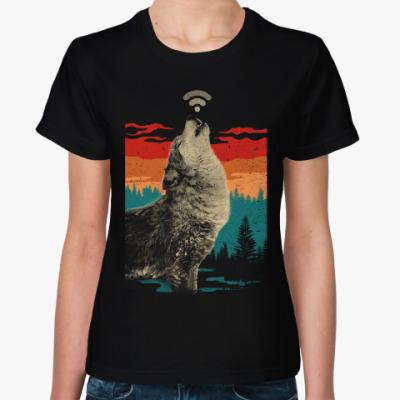 Женская футболка Волк раздаёт WiFi