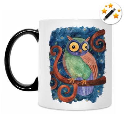 Кружка-хамелеон Сова звездной ночью, милая сова