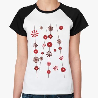 Женская футболка реглан Цветочки